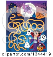Clipart Of A Cartoon Dracula Vampire Waving And Holding A Jackolantern Basket With Halloween Candy And Ghosts In A Maze Leading To A Haunted House Royalty Free Vector Illustration