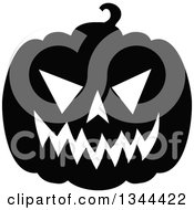 Clipart Of A Black And White Jackolantern Pumpkin Royalty Free Vector Illustration