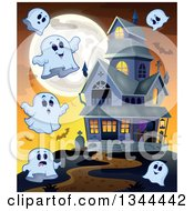 Clipart Of Halloween Ghosts Bats And A Full Moon Around A Haunted House Royalty Free Vector Illustration