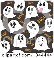 Clipart Of A Seamless Background Pattern Of Ghosts And Boo Over Gray Royalty Free Vector Illustration