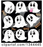 Clipart Of Halloween Ghosts And Boo Text On Black Royalty Free Vector Illustration
