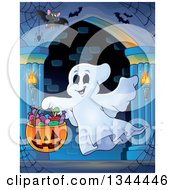 Clipart Of A Trick Or Treating Halloween Ghost With A Bucket Of Candy And Bats In A Haunted Hallway Royalty Free Vector Illustration