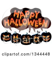 Clipart Of A Row Of Illuminated Jackolantern Pumpkins Under Happy Halloween Text Royalty Free Vector Illustration