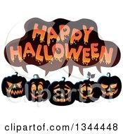 Row Of Illuminated Jackolantern Pumpkins Under Happy Halloween Text