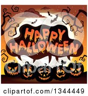 Clipart Of A Row Of Illuminated Jackolantern Pumpkins Under Happy Halloween Text Bare Tree Branches Bats And A Full Moon Royalty Free Vector Illustration