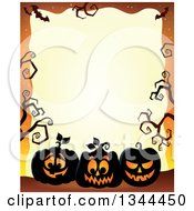 Clipart Of A Halloween Border Of Illuminated Jackolantern Pumpkins With Bare Tree Branches On Orange Royalty Free Vector Illustration