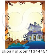 Clipart Of A Halloween Border Of A Haunted House On Orange Royalty Free Vector Illustration