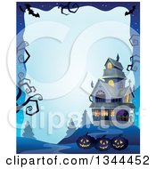 Clipart Of A Halloween Border Of Illuminated Jackolantern Pumpkins With A Haunted House And Bare Tree Branches On Blue Royalty Free Vector Illustration