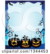 Clipart Of A Halloween Border Of Illuminated Jackolantern Pumpkins With Bare Tree Branches On Blue Royalty Free Vector Illustration