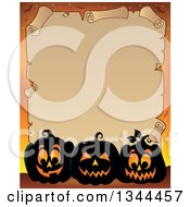 Clipart Of A Halloween Parchment Scroll With Illuminated Jackolantern Pumpkins On Orange 3 Royalty Free Vector Illustration