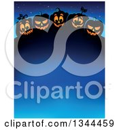 Clipart Of A Row Of Illuminated Halloween Jackolantern Pumpkins Over Blue Text Space Royalty Free Vector Illustration