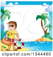 Clipart Of A Happy Caucasian Male Life Guard On A Beach Over A Border Royalty Free Vector Illustration