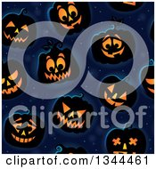 Clipart Of A Seamless Background Pattern Of Illuminated Halloween Jackolantern Pumpkins Over Midnight Blue Royalty Free Vector Illustration