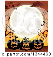 Clipart Of Illuminated Halloween Jackolantern Pumpkins With Bare Tree Branches Bats And A Full Moon Over Orange Royalty Free Vector Illustration