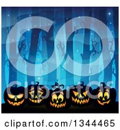 Clipart Of A Blue Dark Misty Forest With Lit Halloween Jackolantern Pumpkins Royalty Free Vector Illustration by visekart