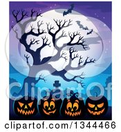 Clipart Of Illuminated Halloween Jackolantern Pumpkins With A Tombstone Bare Tree Bats And A Full Moon Royalty Free Vector Illustration