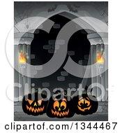 Clipart Of Illuminated Halloween Jackolantern Pumpkins With Bats In A Haunted Hallway Royalty Free Vector Illustration