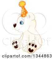 Clipart Of A Cute Baby Polar Bear Cub Sitting Wearing A Party Hat And Facing Left Royalty Free Vector Illustration by Pushkin