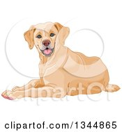 Clipart Of A Happy Yellow Labrador Retriever Dog Resting Royalty Free Vector Illustration