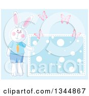 Clipart Of A Boy Bunny Rabbit And Butterflies By A Polka Dot Sign Over Blue Royalty Free Vector Illustration