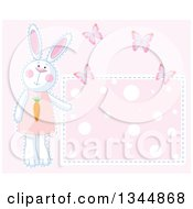 Clipart Of A Girl Bunny Rabbit And Butterflies By A Polka Dot Sign Over Pink Royalty Free Vector Illustration