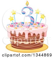 Clipart Of A Third Birthday Cake With A Number Candle Stars Candy And Pink Frosting Royalty Free Vector Illustration