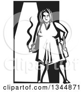 Clipart Of A Black And White Woodcut Fat Woman Smoking A Cigarette Royalty Free Vector Illustration