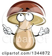 Clipart Of A Cartoon Mushroom Presenting And Pointing Royalty Free Vector Illustration
