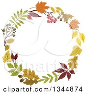 Clipart Of A Colorful Autumn Leaf Wreath 16 Royalty Free Vector Illustration by Vector Tradition SM