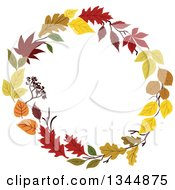 Clipart Of A Colorful Autumn Leaf Wreath 15 Royalty Free Vector Illustration by Vector Tradition SM