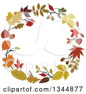 Clipart Of A Colorful Autumn Leaf Wreath 13 Royalty Free Vector Illustration by Vector Tradition SM