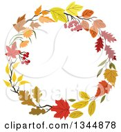 Clipart Of A Colorful Autumn Leaf Wreath 14 Royalty Free Vector Illustration by Vector Tradition SM