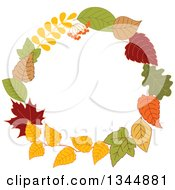 Clipart Of A Colorful Autumn Leaf Wreath 9 Royalty Free Vector Illustration by Vector Tradition SM