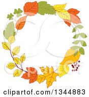 Clipart Of A Colorful Autumn Leaf Wreath 11 Royalty Free Vector Illustration by Vector Tradition SM
