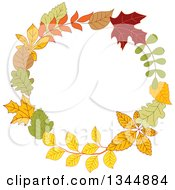 Clipart Of A Colorful Autumn Leaf Wreath 12 Royalty Free Vector Illustration by Vector Tradition SM
