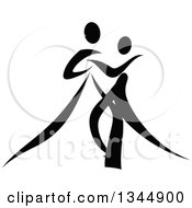 Clipart Of A Black And White Ribbon Couple Dancing Together 7 Royalty Free Vector Illustration by Vector Tradition SM