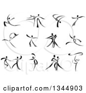 Clipart Of Black And White Ribbon Dancers Royalty Free Vector Illustration by Vector Tradition SM