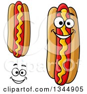 Clipart Of A Cartoon Face Hands And Hot Dogs With Mustard Royalty Free Vector Illustration