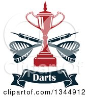Clipart Of A Red Trophy With Crossed Darts Over A Text Banner Royalty Free Vector Illustration