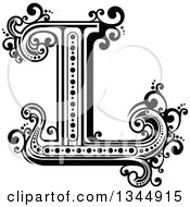 Clipart Of A Retro Black And White Capital Letter L With Flourishes Royalty Free Vector Illustration