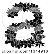 Clipart Of A Black And White Floral Lowercase Letter A Royalty Free Vector Illustration by Vector Tradition SM