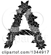 Clipart Of A Black And White Floral Capital Letter A Royalty Free Vector Illustration by Vector Tradition SM