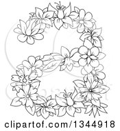 Clipart Of A Black And White Outline Floral Lowercase Letter A Royalty Free Vector Illustration by Vector Tradition SM