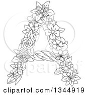 Clipart Of A Black And White Outline Floral Capital Letter A Royalty Free Vector Illustration by Vector Tradition SM