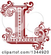 Clipart Of A Retro Red Capital Letter L With Flourishes Royalty Free Vector Illustration