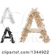 Clipart Of Black And White Outline And Tan Floral Capital Letter A Designs Royalty Free Vector Illustration