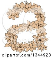 Clipart Of A Black And Tan Floral Lowercase Letter A Royalty Free Vector Illustration by Vector Tradition SM
