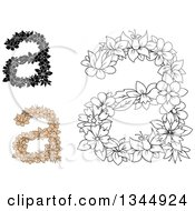 Clipart Of Black And White Outline And Tan Floral Lowercase Letter A Designs Royalty Free Vector Illustration