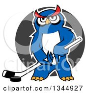 Cartoon White Outlined Blue Ice Hockey Owl With A Puck And Stick Over A Gray Circle