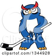 Cartoon Blue Ice Hockey Owl With A Puck And Stick